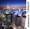 New York City Manhattan panorama skyline sunset aerial view with Times Square. - stock photo