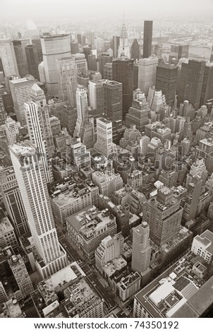 New York City Manhattan skyline aerial view black and white with skyscrapers and street. - stock photo
