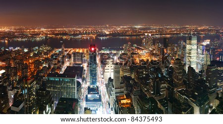 New York City Manhattan skyline aerial view panorama at sunset with skyscrapers and street. - stock photo