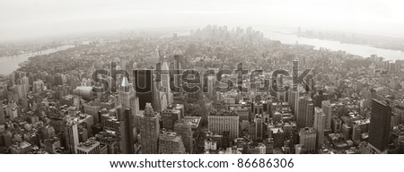 New York City Manhattan skyline aerial view panorama black and white with skyscrapers and street. - stock photo