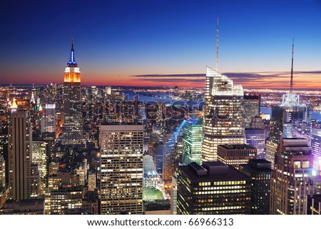 New York City Manhattan skyline aerial view with Empire State Building and Times Square at sunset. - stock photo