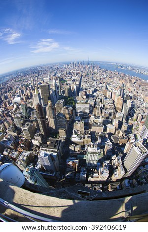 New York City Manhattan skyline aerial view with skyscrapers fisheye - stock photo