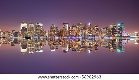 New York City Manhattan Skyline at night with reflection - stock photo