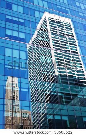 New York City  Manhattan skyline. Blue sky, high buildings. City background. - stock photo