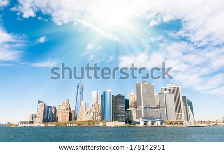 New York City - Manhattan skyline from a different point of View - Hudson River  - stock photo