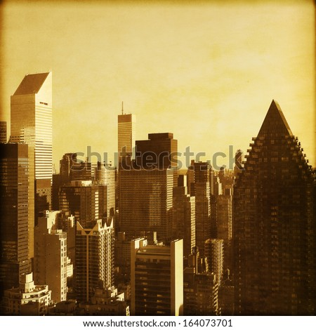 New York City Manhattan skyline in grunge and retro style.