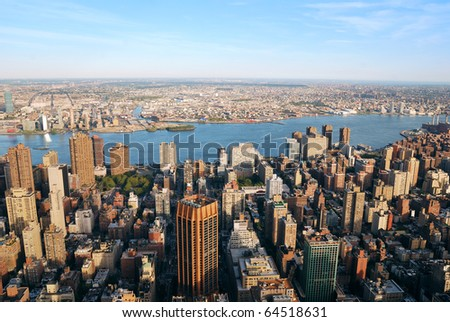 New York City Manhattan skyline panorama aerial view with New Jersey from west Hudson River at sunset with skyscrapers. - stock photo