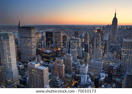 New York City Manhattan skyline panorama sunset aerial view with. empire state building - stock photo