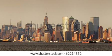 New York City Manhattan skyline panorama with Empire State Building over Hudson River - stock photo