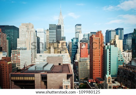 New York City Manhattan skyline view. - stock photo