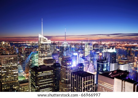 New York City Manhattan skyline with Times Square aerial view at night. - stock photo