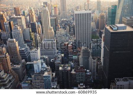 New York City manhattan skyscrapers view from air. - stock photo