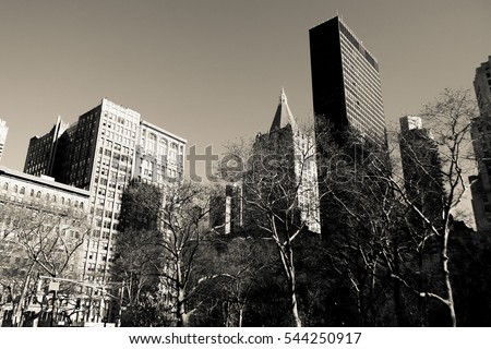 New York City, Manhattan streets and buildings, vintage photography style.