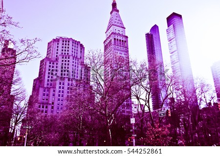 New York City, Manhattan, streets and buildings vintage style photography.