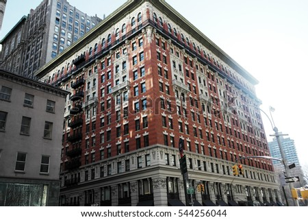 New York City, Manhattan streets and buildings vintage style photography.