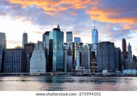 New York City Manhattan sunset skyline panorama view over Hudson River  - stock photo
