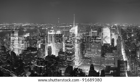 New York City Manhattan Times Square skyline aerial view panorama black and white with skyscrapers and street. - stock photo