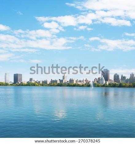 New York City Manhattan water reflection panorama - stock photo