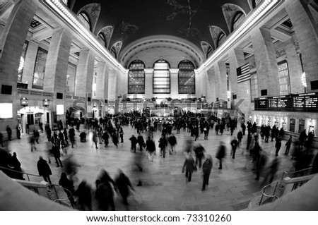 NEW YORK CITY- MAR 7: General view of Grand Central station March 7, 2011 in Manhattan, New York City. It's the 2nd busiest station of the  NYC Subway system with 42 million passengers in 2009. - stock photo