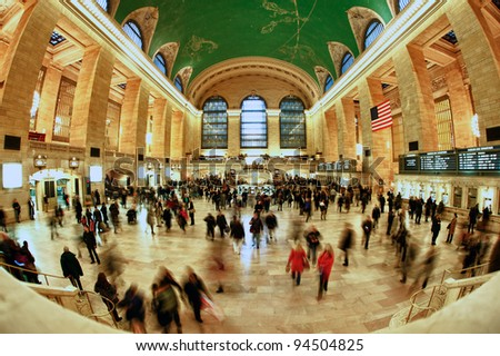 NEW YORK CITY- MAR 7: General view of Grand Central station March 7, 2011 in Manhattan, New York City. It's the busiest station of the NYC Subway system with 42 million passengers in 2009. - stock photo
