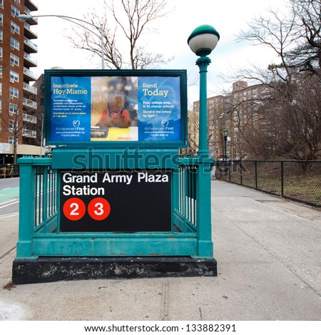 NEW YORK CITY - MAR 1: Subway entrance at Brooklyn Grand Army Plaza in NYC on Mar 1 2013. Owned by the NY City Transit Authority, the subway system has 469 stations in operation - stock photo