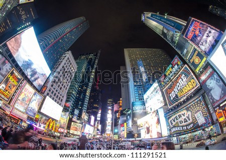 NEW YORK CITY - MAR 15: Times Square, featured with Broadway Theaters and animated LED signs, is a symbol of New York City and the United States, March 15, 2010 in Manhattan, New York City - stock photo