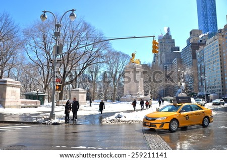 NEW YORK CITY - MARCH 6, 2015: Columbus Circle, NYC  - stock photo