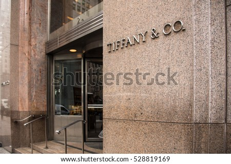 NEW YORK CITY - MARCH 14, 2014:  Exterior view of Tiffany & Co., along fashionable Fifth Avenue in Manhattan.