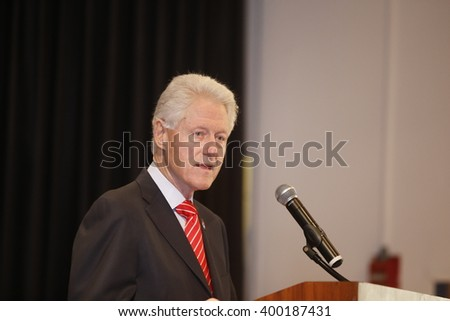 NEW YORK CITY - MARCH 31 2016: Former president Bill Clinton campaigned in New York City on behalf of his wife, Democratic front runner Hillary Rodham Clinton at organized labor venues - stock photo