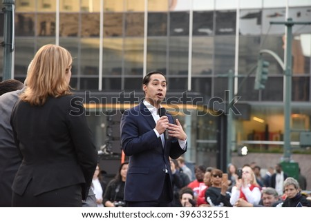 NEW YORK CITY - MARCH 23 2016: Mayor de Blasio, Chirlane McCray, Melissa Mark-Viverito & HUD director Julian Castro highlighted a rally in Foley Square. HUD director Julian Castro speaks