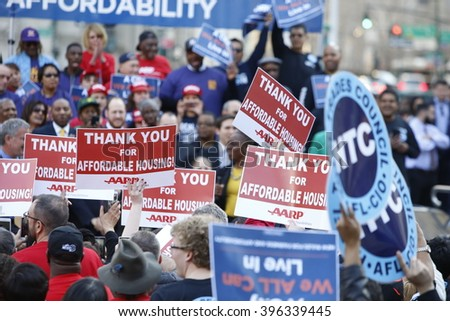 NEW YORK CITY - MARCH 23 2016: Mayor de Blasio, Chirlane McCray, Melissa Mark-Viverito & HUD director Julian Castro highlighted a rally in Foley Square. Array of signs fill Foley Square