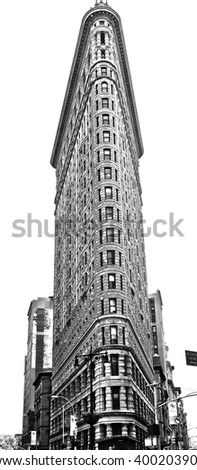 NEW YORK CITY - MARCH 31 2016: monochrome image of Manhattan's Flatiron building facing downtown. Completed in 1902 & designed by Charles Burnham, it is regarded as one NYC's most iconic structures - stock photo