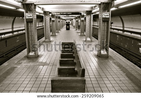 NEW YORK CITY - March 8, 2015: New York City subway station in Brooklyn, New York City, USA.  - stock photo