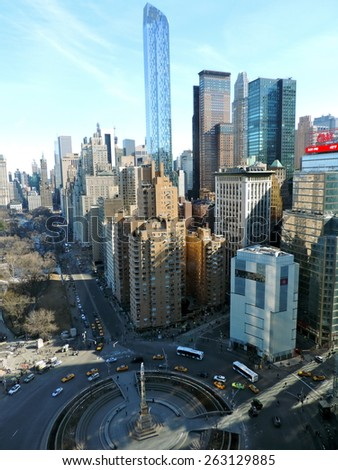 NEW YORK CITY - MARCH 9, 2014: New York cityscape at Columbus Circle in Manhattan, NYC. USA. - stock photo