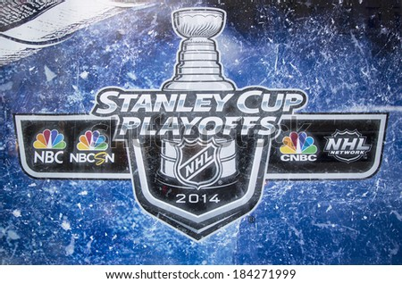 NEW YORK CITY - MARCH 20: Stanley Cup Playoffs 2014 logo displayed at the NBC Experience Store window in midtown Manhattan on March 20, 2014
