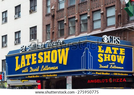 NEW YORK CITY - MARCH 14, 2014:  Street view of Manhattan landmark Ed Sullivan Theater and home of Late Night with David Letterman in Times Square.  - stock photo
