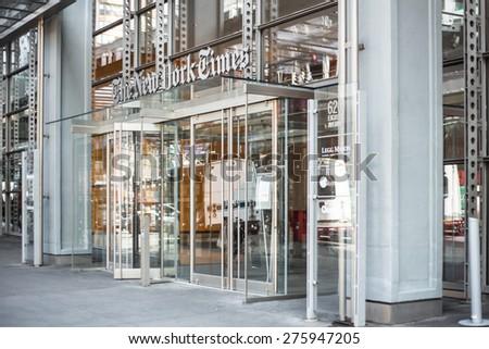 NEW YORK CITY - MARCH 14, 2014:  Street view of Manhattan landmark The New York Times newspaper headquarters.  - stock photo
