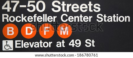 NEW YORK CITY - MARCH 20  47-50 Streets Rockefeller Center Subway Station  in NYC on September 1, 2013 Owned by the NYC Transit Authority, the subway system has 469 stations in operation  - stock photo