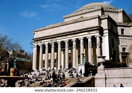 New York City - March 7, 2005:  Students sitting on the broad staircase in front of the Library of Columbia University on a mild Spring afternoon