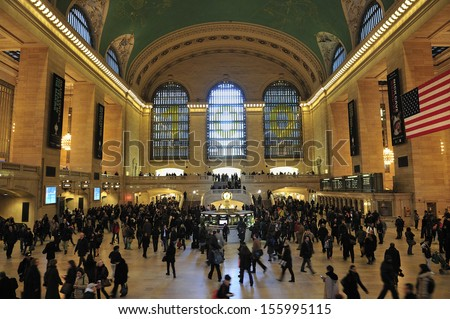 NEW YORK CITY - March, 19th: Main hall of Grand Central Station on March, 19th, 2013, in New York. The terminal is the largest train station in the world , celebrating 100 years anniversary - stock photo