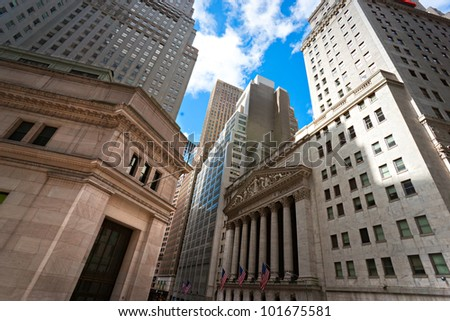 NEW YORK CITY - MARCH 30: The historic New York Stock Exchange is the largest stock exchange in the world March 30, 2010 in New York City, USA. - stock photo
