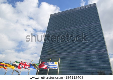 NEW YORK CITY - MARCH 20  The United Nations building in Manhattan on March 20, 2014 in New York  The complex has served as the official headquarters of the United Nations since its completion in 1952