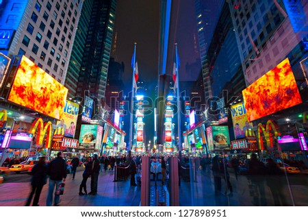 NEW YORK CITY -MARCH 25: Times Square, featured with Broadway Theaters and animated LED signs, is a symbol of New York City and the United States, March 25, 2012 in Manhattan, New York City. USA. - stock photo