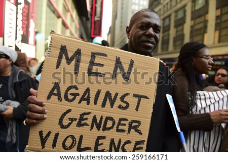 NEW YORK CITY - MARCH 8 2015: United Nations International Women's Day was marked with a rally in Dag Hammarskjold Plaza & march to Times Square. - stock photo