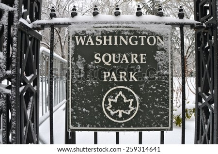NEW YORK CITY - MARCH 5, 2015: Washington Square Park, Manhattan, NYC - stock photo