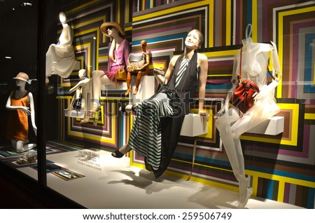 NEW YORK CITY - MARCH 9, 2015: Window display at Bergdorf Goodman in NYC on March 9, 2015.