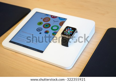 NEW YORK CITY - MAY 13, 2015: Apple watch inside Apple store. As of 2014, Apple employs 72,800 permanent full-time employees, maintains 437 retail stores in fifteen countries.  - stock photo