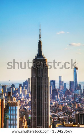 NEW YORK CITY - MAY 13: Empire State building on May 13, 2013 in New York City. It's a 102-story skyscraper located in Midtown Manhattan. - stock photo