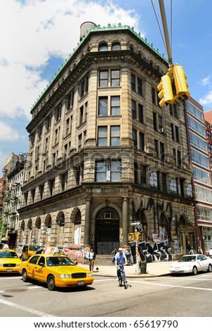 "NEW YORK CITY - MAY 15: Even though the building at 190 Bowery looks abandoned, it is actually a 72 room ""Bohemian Dream House"" at the intersection of Spring Street May 15, 2010 in New York, NY. - stock photo"
