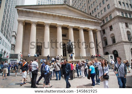 NEW YORK CITY - MAY 17:  Federal Hall National Memorial in NYC on May 17 2013. The site of the first capitol building of the USA.  This memorial is now a museum for this sites historic events.